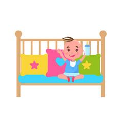 pretty little boy in cute crib color template vector image
