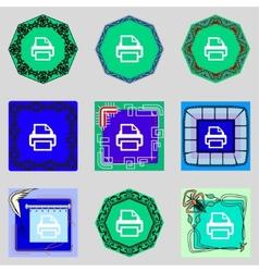 Print sign icon Printing symbol Set colourful vector image