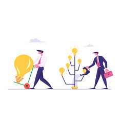Producing ideas concept businessman watering tree vector