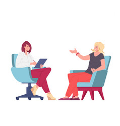Psychologist and patient on psychotherapeutic vector