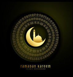 ramadan kareem greeting with moon mosque and vector image