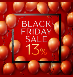 Red balloons with black friday sale thirteen vector
