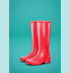 red rain boots vector image