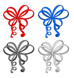 ribbon bows hand drawn sketch vector image