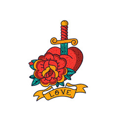 Rose flower heart dagger ribbon and word love vector