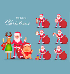 Santa claus deer and pig set vector