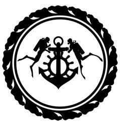Scuba divers and anchor vector