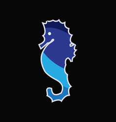 seahorse on black background vector image