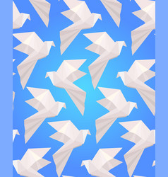 Seamless texture with white origami doves on a vector