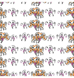 Seemless pattern of doodle dog vector