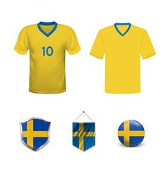 set abstract football jerseys sweden norway vector image