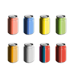 Set aluminum can in color isolated on white vector