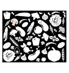set different kinds vegetables icons vector image