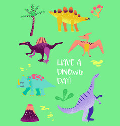 set funny dinosaurus for poster print baby vector image