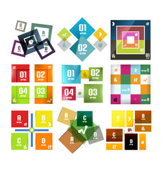 Set of square shaped infographic diagram templates vector
