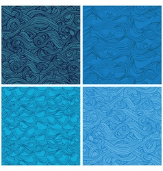 set seamless pattern with hand-drawn waves vector image