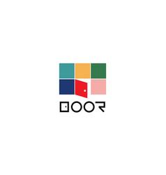 Simple door opened logo design template vector
