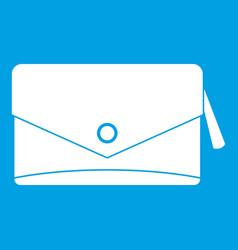 Small bag icon white vector