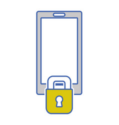 Smartphone technology with padlock security vector