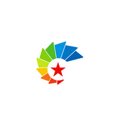 star color rainbow technology logo vector image