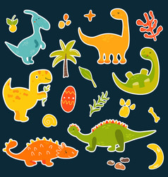 stickers set with cartoon cute dinos vector image
