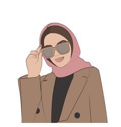 Stylish girl in glasses fashion vector