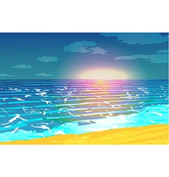 Sunset over the ocean vector image