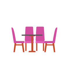 table with four chairs isolated furniture vector image