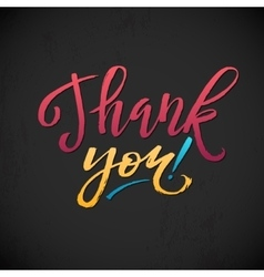 Thank You Card Calligraphic Inscription Bright vector