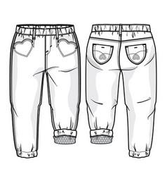 Toddler girls pants vector