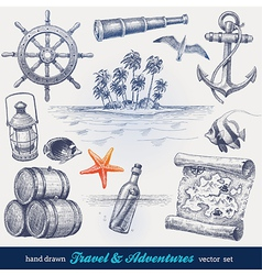 Travel and adventures hand drawn set vector