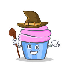 Witch cupcake character cartoon style vector
