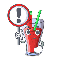 With sign character tasty beverage fruit vector