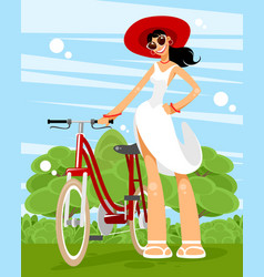 woman with a bicycle vector image
