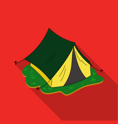 Yellow tent icon in flat style isolated on white vector