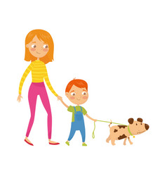 young mother walking with her cute son and little vector image