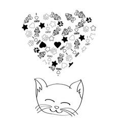 Cute cartoon cat dreaming vector