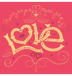 Love hand-lettering Valentines day card vector image vector image