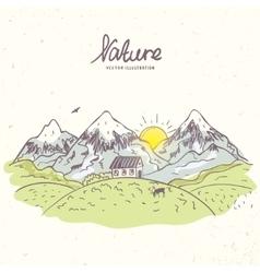Mountain sketch color vector image