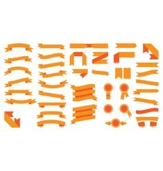 Set of beautiful festive colored orange ribbons vector image vector image