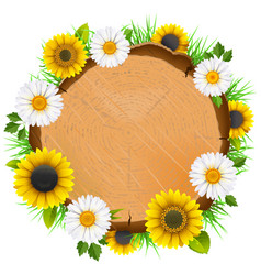 wooden board with flowers vector image