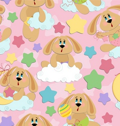 Babies with bunny vector