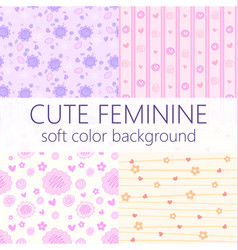 cute feminine girly seamless pattern template set vector image vector image