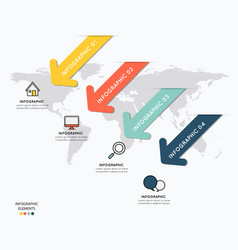 infographic elements design with icons on map vector image vector image