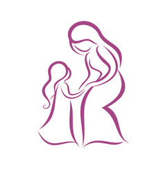 mother and daughter symbol vector image