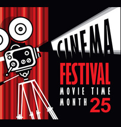 movie time poster with old fashioned movie camera vector image vector image