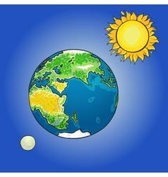 the sun moon earth vector image