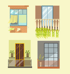windows and house balcony different stlyes vector image vector image