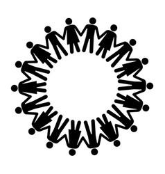 black silhouette teamwork human people circle vector image