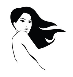 long black hair beauty icon vector image vector image